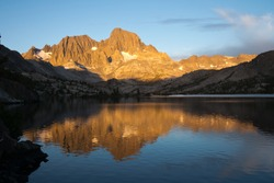 Reflection of Mount Ritter in Garnet Lake on the John Muir Trail in the Ansel Adams Wilderness in the Sierra Nevada Mountains of California