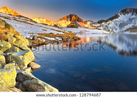 reflection of mountain sunset