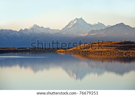 reflection of Mt Cook on the lake, new zealand, south island