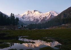 Reflection of Nanga Parbat, Fairy meadows, Karakoram highway, Pakistan