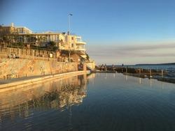 Reflection of north Bondi children's pool at Sydney, Australia