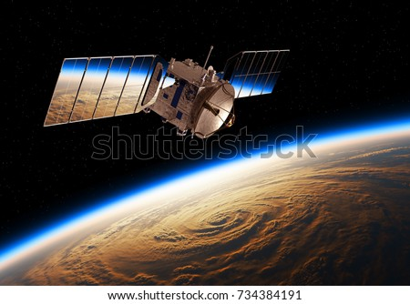 Reflection Of Planet Earth In Solar Panels Of A Space Satellite. 3D Illustration.