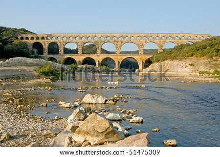 Reflection of Pont du Gard in Early Morning