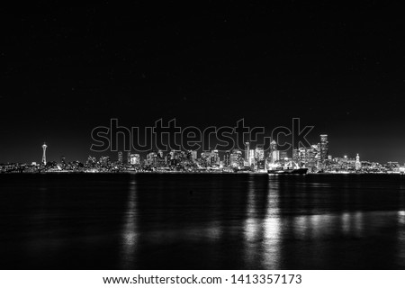 Reflection of Seattle Skyline on Puget Sound
