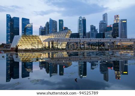 Reflection of Singapore City Skyline on Marina Bay at Blue Hour