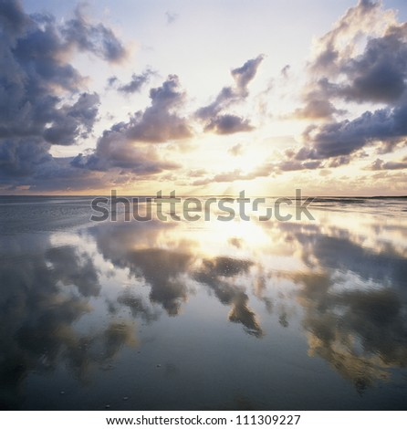 Reflection of sky and clouds on sea, Denmark