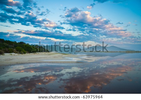 Reflection of Sunset in the remote New River Lagoon, Southwest National Park, Tasmania, Australia. Accessible only by foot or boat.