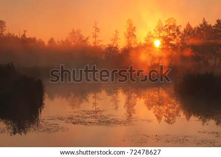 Reflection of the first rays of dawn sunlight in the lake