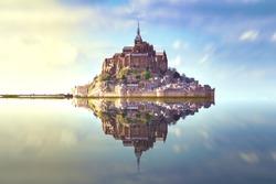Reflection of the Mont Saint Michel Bretagne France