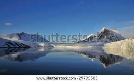Reflection of the snow mountain in antarctica