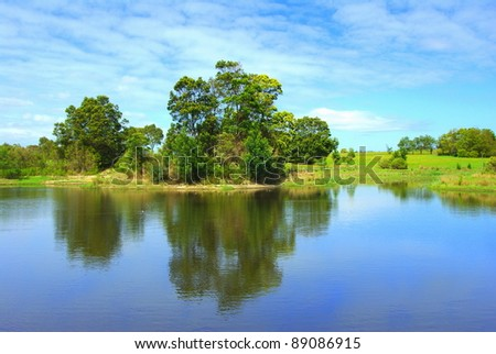 Reflection of trees and lush vegetation on a beautiful lake in victoria australia