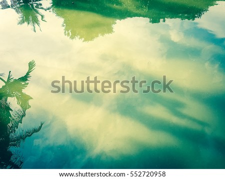 Reflection of trees and sky in the water caused by the sunlight. #552720958