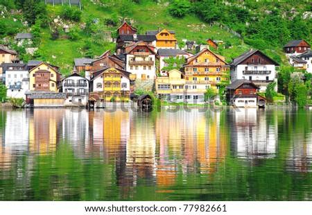 Reflection of village in Hallstatt, Austria
