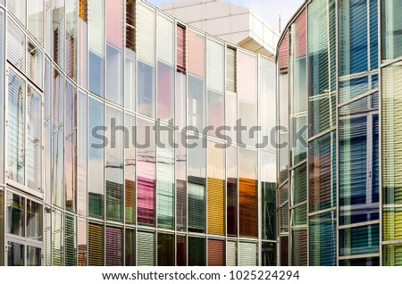 Reflection on the exterior of an office skyscraper in Berlin, Germany.  #1025224294