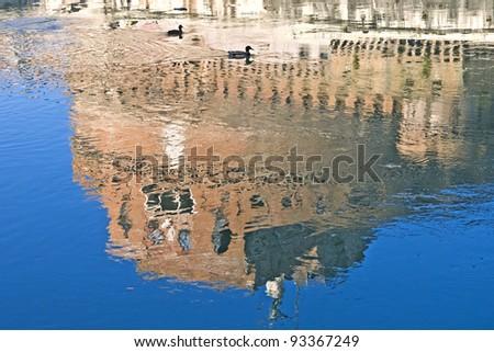 Reflection view of Castel Sant Angelo, Rome, Lazio, Italy