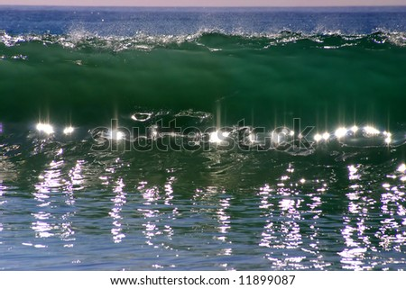 Reflections in a Crashing Wave look like Jewels