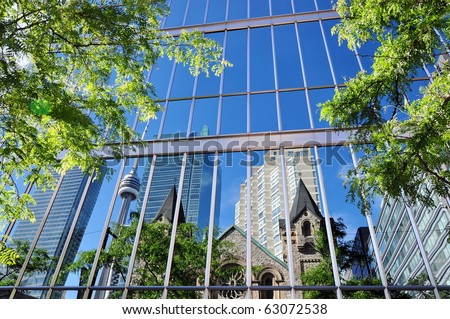 Reflections in skyscrapers windows. Downtown - business center of Toronto, Canada