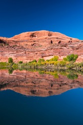 Reflections in the Colorado River, Moab Canyon, Moab, Arches National Park, Colorado Plateau, Utah, Grand County, Usa, America