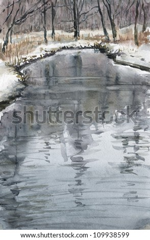 Reflections in the river. Reflections of the trees in a small winter river. Landscape. Watercolor impressionism.