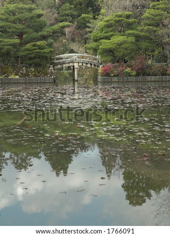 Reflections of a Japanese garden and a stone bridge