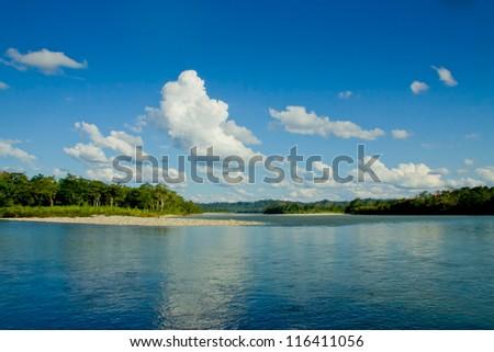 Reflections of Amazon river, Ecuador