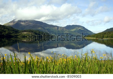 Reflections of mountains in a loch in the Scottish highlands