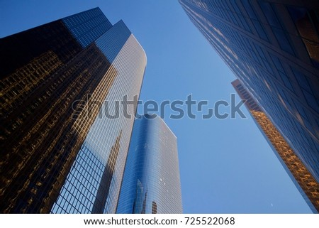Reflections on glass city skyscrapers #725522068