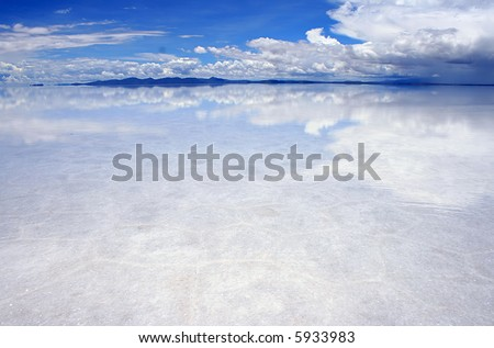 reflections on the bolivian salt flats