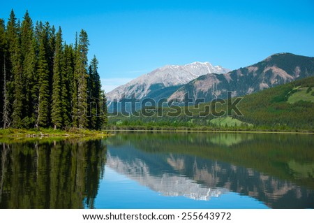 reflections on the Rock lake  #255643972