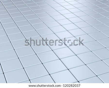 Reflective floor metal square texture