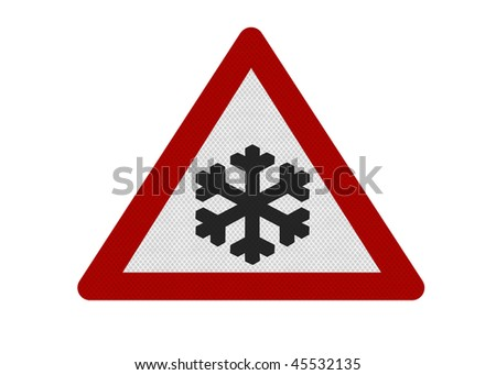 Reflective metallic 'Risk of Ice' warning, sign, isolated on a pure white background.