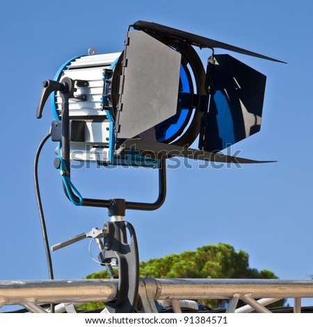 Reflector in an outdoor theater with blue sky background