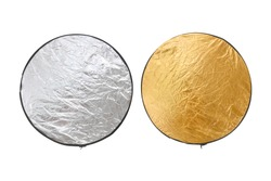 Reflector silver and gold light for photography Isolated with clipping path