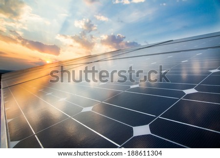 Reflexion of the clouds on the photovoltaic cells #188611304