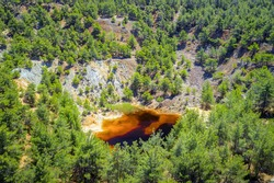 Reforestation of an old copper mine area near Kinousa, Cyprus. Red lake is a result of the pyrite ore extraction in the area
