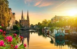Reformed Church of St. Paul in Strasbourg at sunrise, France