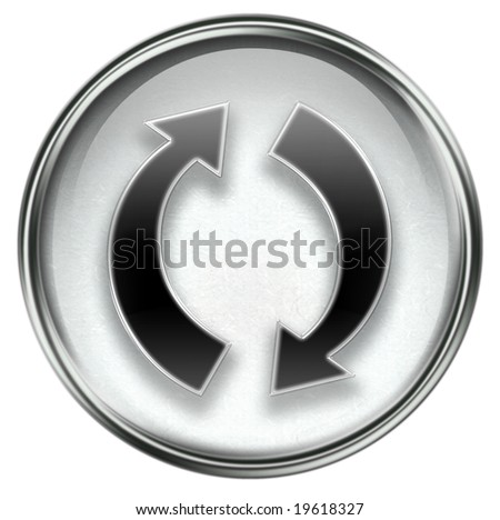 refresh icon grey, isolated on white background.