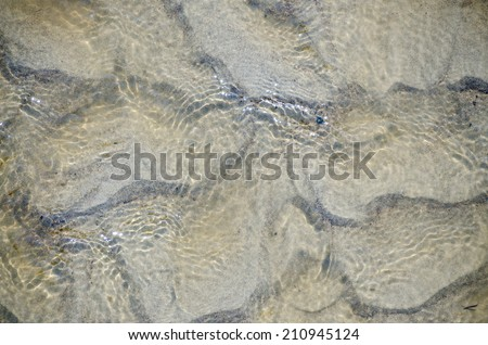 Refreshing blue tinted clear water shallow water creating ripples in the sand beneath