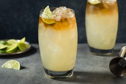 Refreshing Boozy Rum Dark and Stormy Cocktail with Ginger Beer