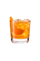 Refreshing Bourbon Old Fashioned Cocktail on White with a Clipping Path