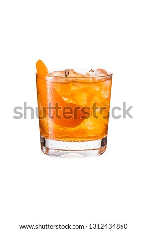 Refreshing Bourbon Old Fashioned Cocktail on White with a Clipping Path #1312434860