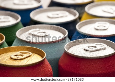 Refreshing cans of soda - stock photo