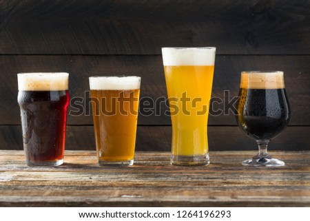 Refreshing Cold Craft Beer Assortment of IPA Lager and Stout #1264196293