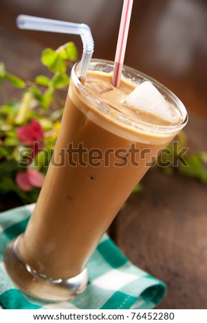 Refreshing cold frappe coffee - stock photo
