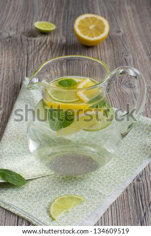 Refreshing cold lemonade with mint, lime and lemon