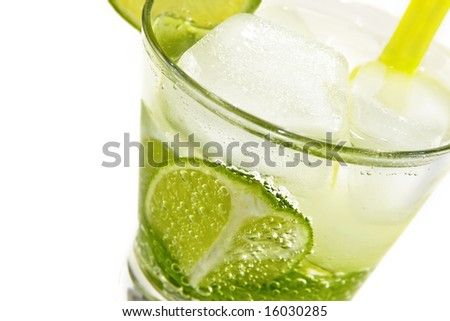 Refreshing cold Mojito Cocktail against a white background. - stock photo