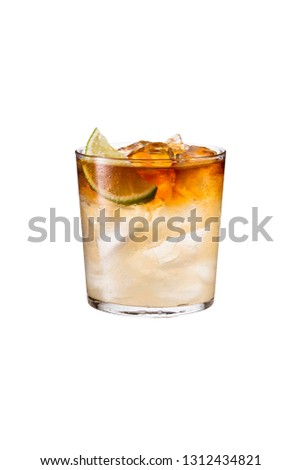 Refreshing Dark and Stormy Cocktail on White with a Clipping Path Stok fotoğraf ©