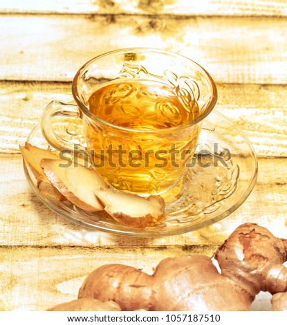 Refreshing Ginger Tea Representing Natural Beverages And Teas