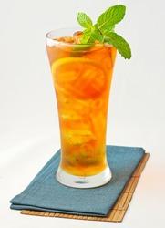 Refreshing iced lemon mint tea isolated on white background for illustration and design of menu bar restaurant edition