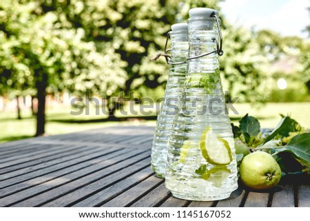 Refreshing infused water with apple slices outdoors on a rustic wood picnic table overlooking a park